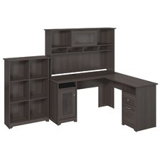 Cabot L-Shape Desk with Hutch and 6 Cube Bookcase
