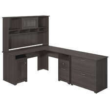 Cabot L-Shape Desk with Hutch and Lateral File