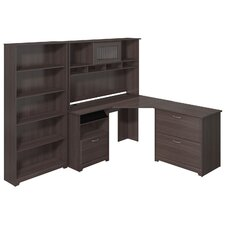 Cabot Corner Desk with Hutch, Lateral File and 5 Shelf Bookcase