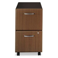 Two-Drawer Mobile Vertical File, 15-5/8w x20-3/8d, Sienna Walnut/Bronze