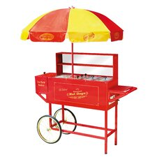 Vintage Carnival Hot Dog Cart with Umbrella