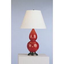 Double Gourd Lamp in Oxblood Glazed Ceramic with Deep Patina Bronze Base & Pearl Dupioni Fabric Shade