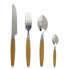 24 Piece Wood Grain Zen Cutlery Set