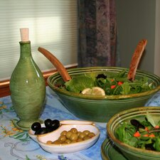 13.5-inch Cilantro Green Stoneware Serving Bowl