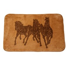 3 Horse Light Chocolate Area Rug