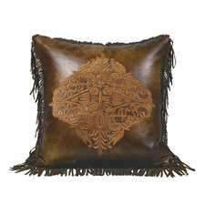 Austin Embroidered Faux Leather Throw Pillow