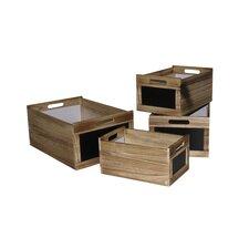 4 Piece Storage Box Set with Chalkboard (Set of 4)
