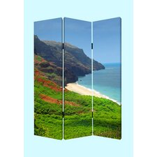 """72"""" X 48"""" Hawaiian Coast 3 Panel Room Divider"""