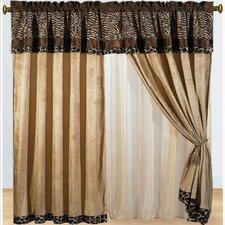 Zebra Micro Fur Rod Pocket Curtain Panels (Set of 2)