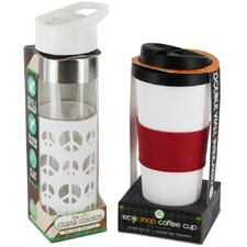 2 Piece Peace Love Eco Hydration Cup and Bottle Set