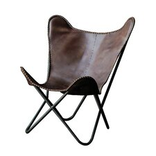 Terrain Metal and Leather Butterfly Side Chair