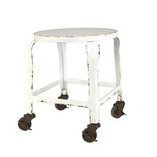 Casual Country Round Metal Stool with Casters