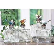 Decorative Glass Bottle with Pewter Bird (Set of 4)
