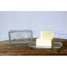 Casual Country Pressed Glass Butter Dish