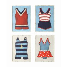Waterside Vintage Bathing Suits 4 Piece Wall Art Set