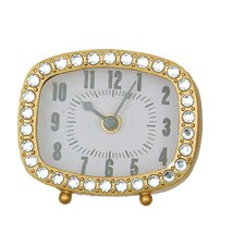 Rectangle Pewter Clock with Crystals