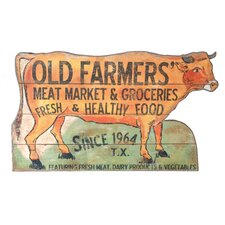 """Casual Country Cow Shaped """"Old Farmers Market"""" Wall Décor"""