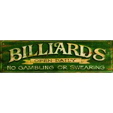 Billiards Green Vintage Advertisement Plaque