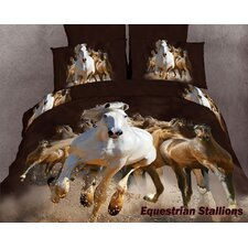 Horse Lovers Equestrian Stallions 6 Piece Duvet Cover set