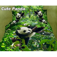 Cute Panda Egyptian Cotton Duvet Cover Set