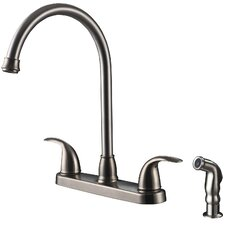 Two Handle Centerset Kitchen Faucet with Matching Side Spray