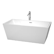 "Sara 63"" x 31.5"" Soaking Bathtub With Floor Mounted Faucet in Polished Chrome"
