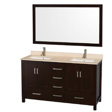 "Sheffield 60"" Double Bathroom Vanity Set with Mirror"