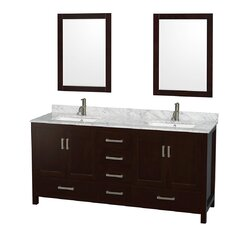 "Sheffield 72"" Double Bathroom Vanity Set with Mirror"