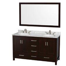 "Sheffield 60"" Double Bathroom Vanity Set with Mirror"