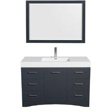 """Delray 48"""" Single Bathroom Vanity Set with Mirror"""