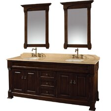 "Andover 72"" Double Bathroom Vanity Set with Mirrors"