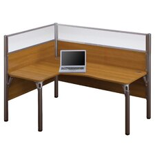 Pro-Biz Single Left L-Desk Workstation With 2 Melamine Privacy Panels and 2 Acrylic Glass Privacy Panels