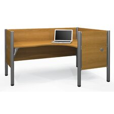 Pro-Biz Single Right L-Desk Workstation With 4 Melamine Privacy Panels