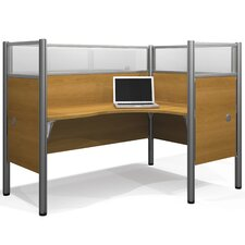 Pro-Biz Single Right L-Desk Workstation With 4 Melamine Privacy Panels & 4 Acrylic Glass Privacy Panels