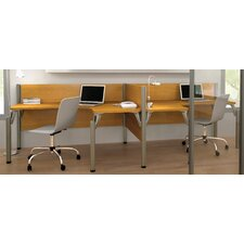 Pro-Biz Double Side-by-Side L-Desk Workstation With 2 Melamine Privacy Panels