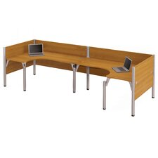 Pro-Biz Double Back-to-Back L-Desk Workstation with 3 Privacy Panels