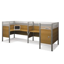 Pro-Biz Double Side-by-Side L-Desk Workstation with 8 Privacy Panels