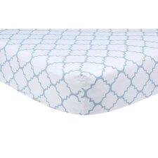 Blue Sky Quatrefoil Crib Sheet