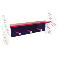 Baseball Shelf with Peg Hooks