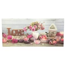 '3 D Paint with Love Flowers and Candles' Graphic Art