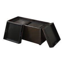Avalon 3 Piece Upholstered Storage Ottoman Set