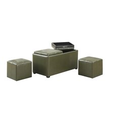 Avalon 5 Piece Rectangular Storage Ottoman Set