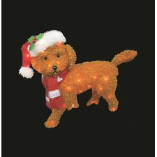 Furry Dog Sculpture Christmas Decoration