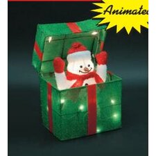 Animated Snowman Gift Box Christmas Decoration