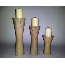 3 Piece Sahara Beige Marble Candle Holder Set
