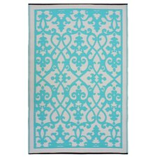 World Venice Gray & Turquoise Indoor/Outdoor Area Rug