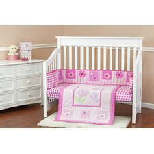 Butterfly and Flower Portable 3 Piece Crib Bedding Set