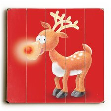 Rudolph on Red Wooden Wall Décor