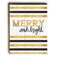 Merry & Bright Black and Gold Wooden Wall Décor
