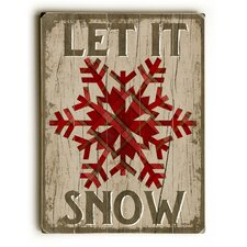 Let It Snowflake on Brown Wooden Wall Décor